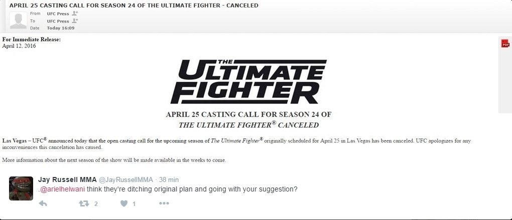 UFC anunciou o cancelamento da seleção para o reality show The Ultimate Fighter