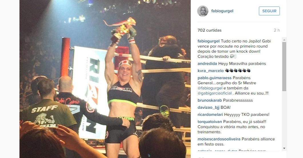 Gabi Garcia comemora vitória no Rizin Fighting, evento de MMA realizado no Japão