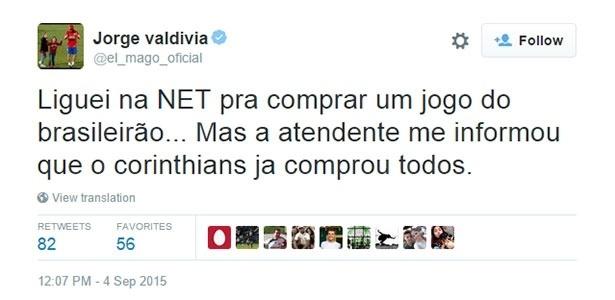 Valdivia cornetou o Corinthians em mensagem no Twitter