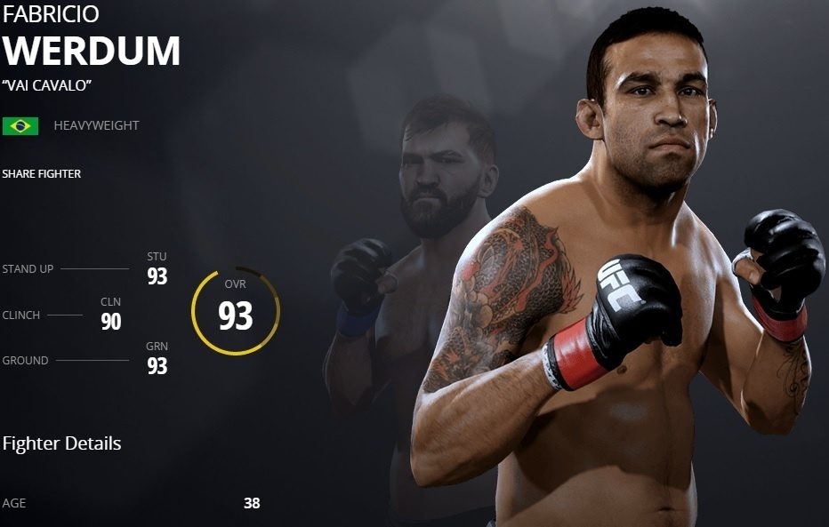 Fabricio Werdum em versão virtual no UFC 2