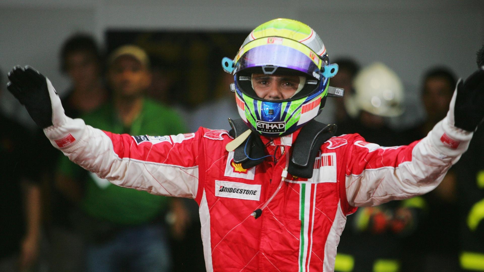 Felipe Massa em 2008, no GP do Brasil, quando perdeu o título mundial na última curva da corrida