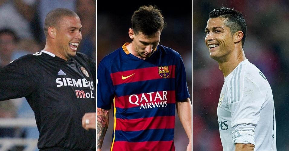 Ronaldo, Messi e Cristiano Ronaldo: argentino pode conquistar a quinta Bola de Ouro