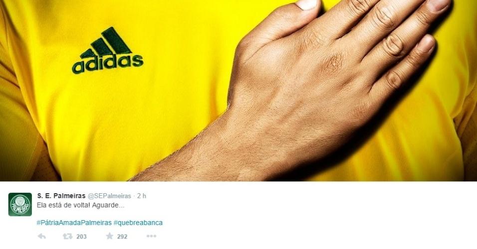 Palmeiras utilizará uniforme amarelo contra o Cruzeiro