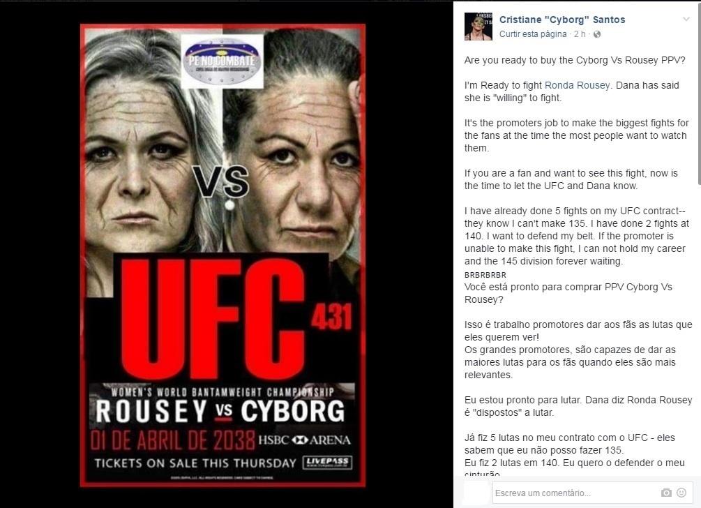 Cris Cyborg volta a pedir luta contra Ronda Rousey e pede para fãs se manifestarem junto à foto com lutadoras envelhecidas