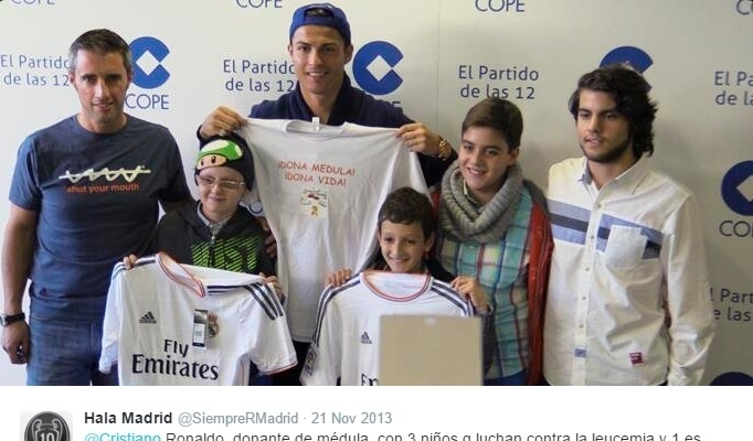 Cristiano Ronaldo participa de campanha para ajudar crianças com leucemia