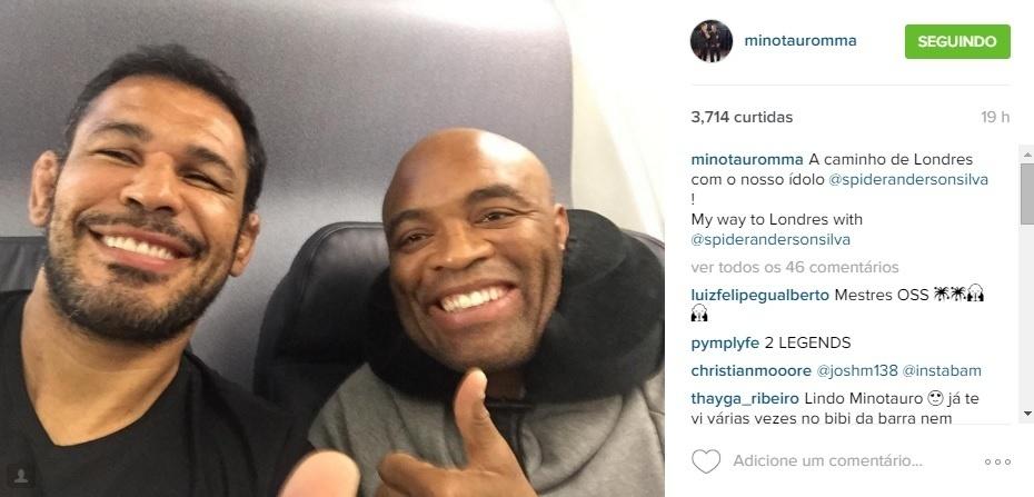 Minotauro e Anderson Silva chegam a Londres para luta contra Michael Bisping