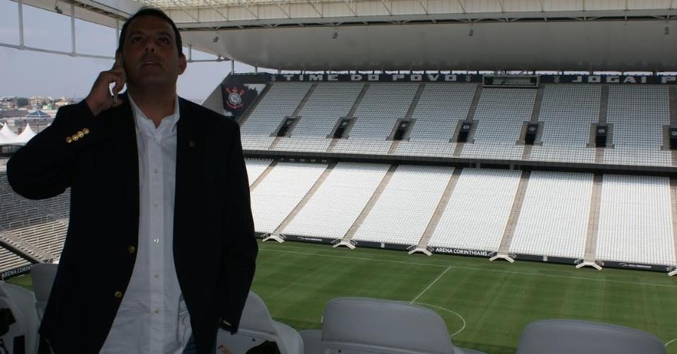 Candidato à presidência do Flamengo, Cacau Cotta visitou a Arena Corinthians durante a campanha