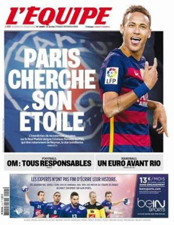 Jornal L'Équipe destaca interesse do Paris Saint-Germain em Neymar