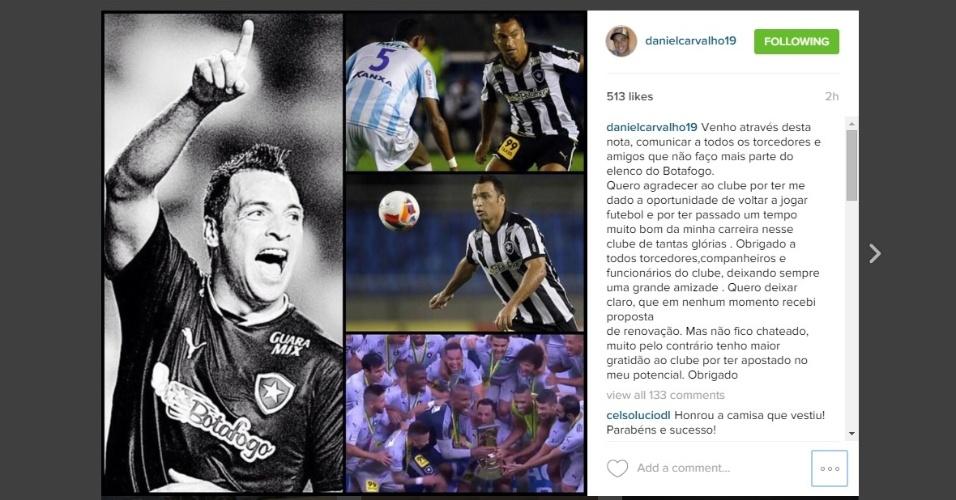 Daniel Carvalho se despede do Botafogo nas redes sociais