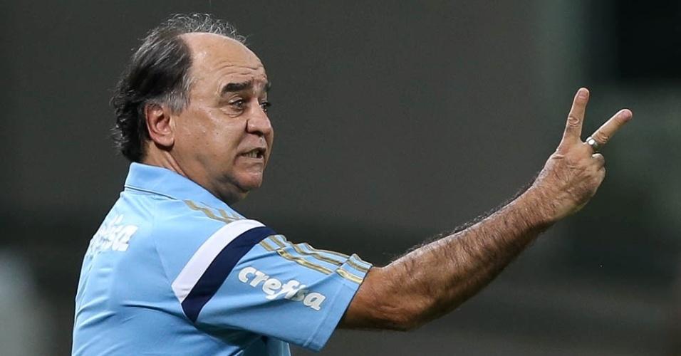 Marcelo Oliveira orienta o time do Palmeiras durante partida válida contra a Ferroviária