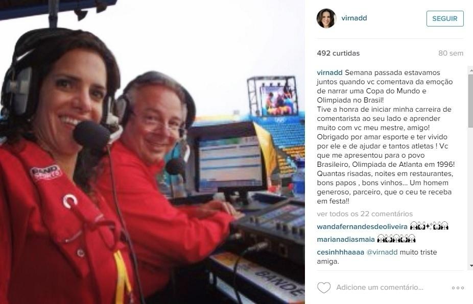 Virna comentou sua primeira Olimpíada em 2008, nos Jogos de Pequim, ao lado de Luciano do Vale, na Bandeirantes