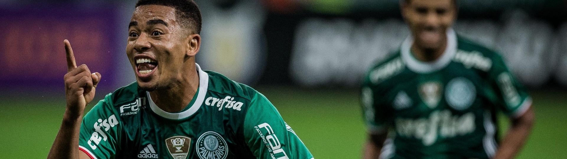 Gabriel Jesus marca um dos gols do Palmeiras contra Figueirense