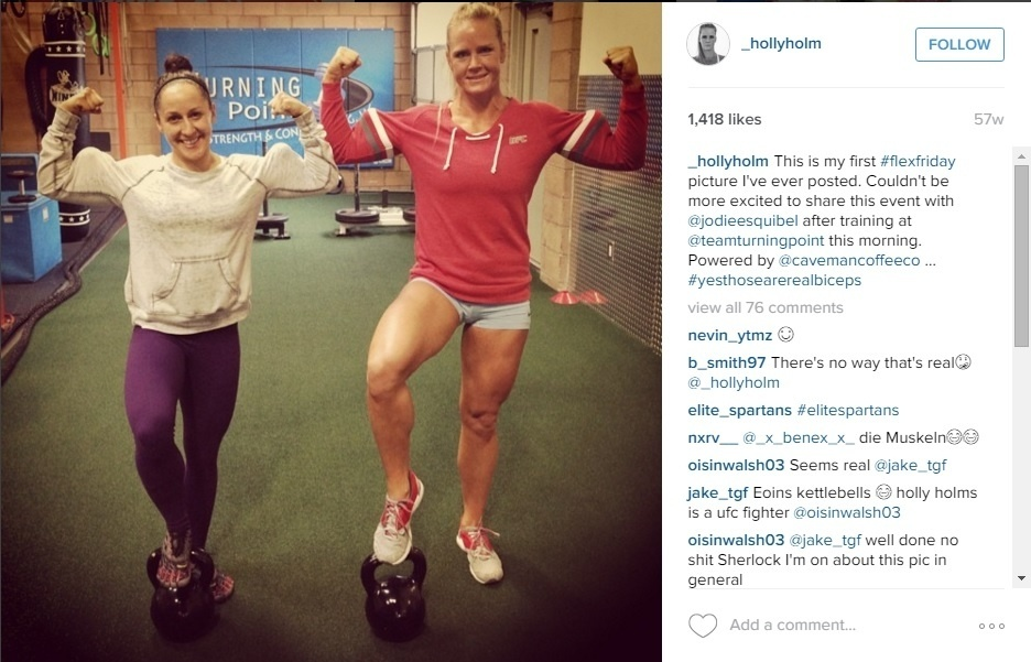 Holly Holm posta foto durante treino