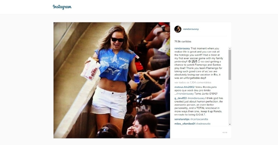 Ronda Rousey registra em sua Instagram a visita ao Maracanã para ver Flamengo x Santos