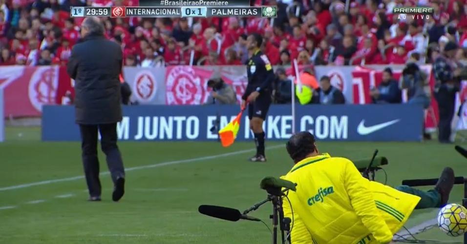 Cuca leva tombo durante a partida entre Palmeiras e Internacional