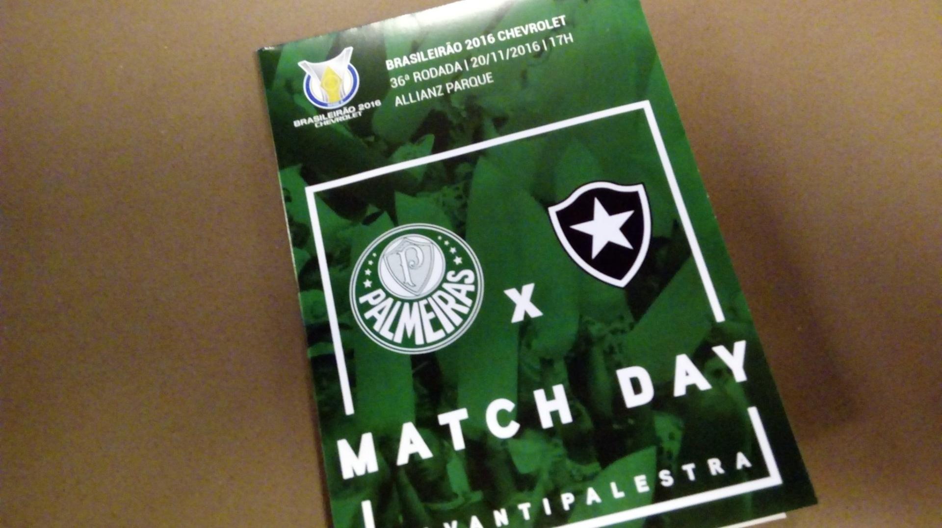 Material entregue pelo Palmeiras antes da partida contra o Botafogo