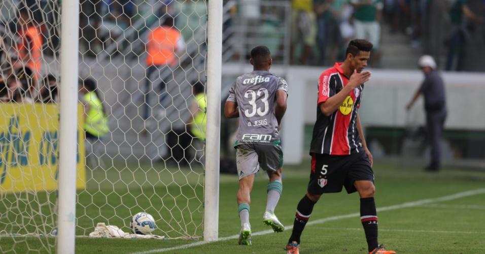 Gabriel Jesus marcou o gol da vitória do Palmeiras sobre o Joinville