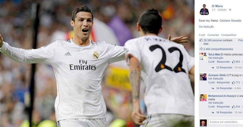 Di María alimenta rumores de C. Ronaldo no PSG: 'em breve, meu amigo'