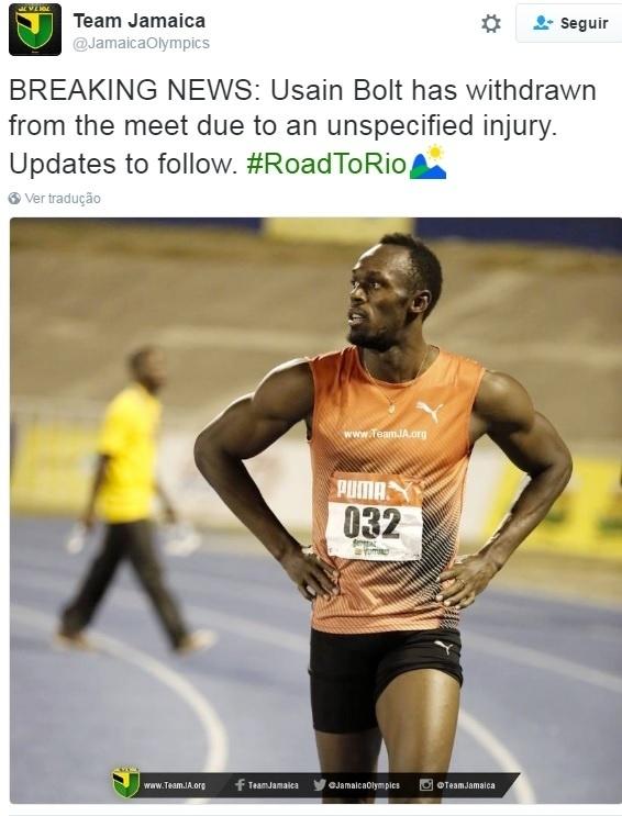 Bolt abandona seletiva