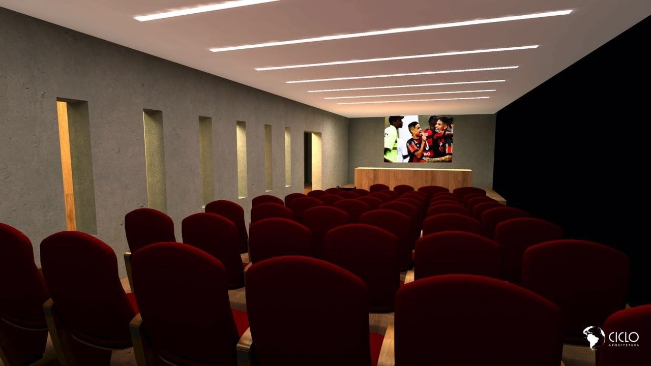 O futuro auditório para as preleções do Flamengo no CT Ninho do Urubu