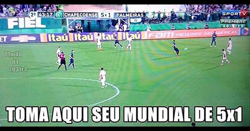 Internautas fizeram piada com goleada sofrida pelo Palmeiras