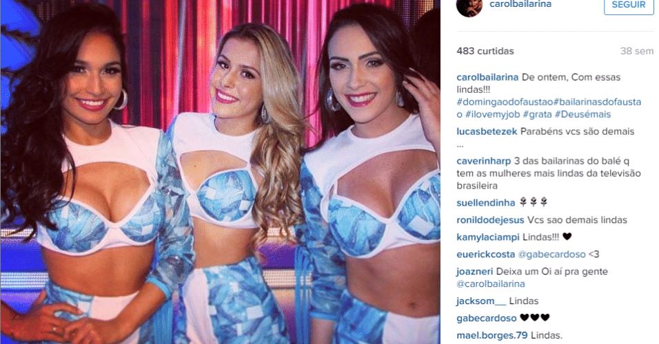 Carol Oliveira é bailarina desde criança e faz parte do balé do Faustão há dois anos. Antes de entrar no programa, ela já havia participado de turnê com o cantor Daniel e de um comercial com a cantora Christina Aguilera
