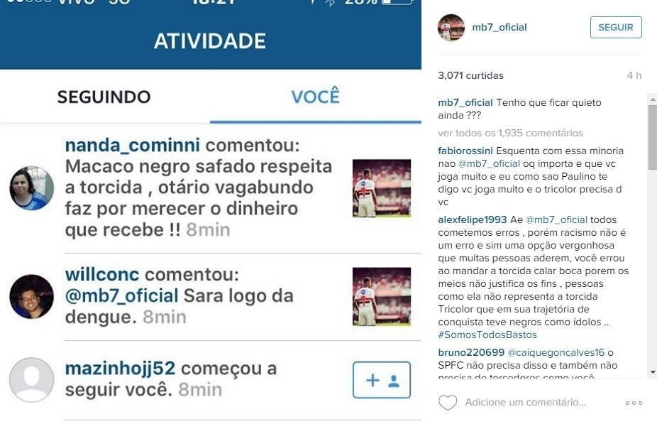 Michel Bastos posta xingamentos racistas que recebeu em uma rede social