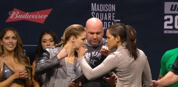 Amanda Nunes defenderá o cinturão dos galos contra Ronda Rousey na próxima sexta (30)