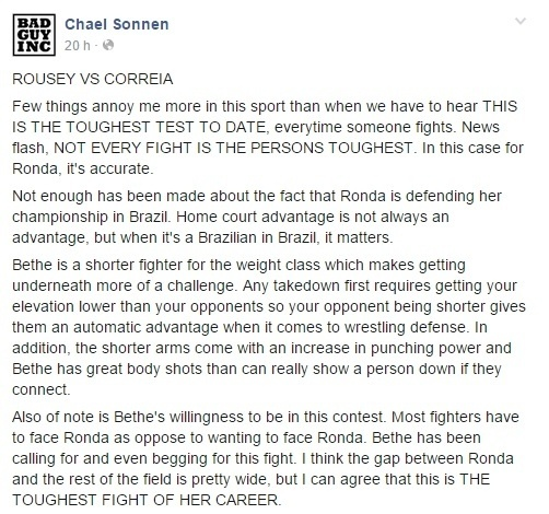 Chael Sonnen elogiou Bethe Correia em seu perfil no Facebook