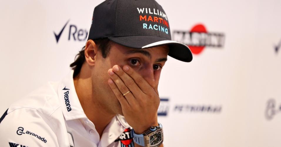 Massa se emociona na entrevista coletiva em que anunciou a sua despedida da Fórmula 1, nesta quinta-feira, em Monza