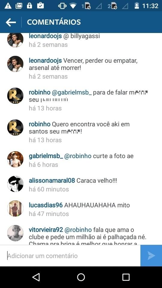 Robinho rebate a críticas de torcedores no Instagram