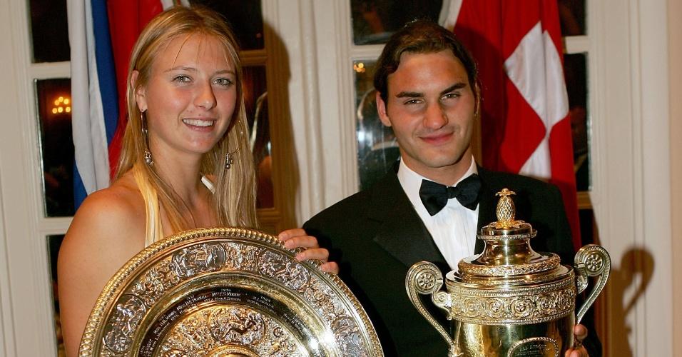 Maria Sharapova e Roger Federer, campeões em 2004, são sócios de Wimbledon