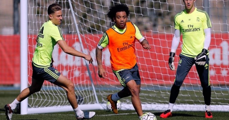 Marcelo participa de treino do Real Madrid. Lateral ficou fora da lista de Dunga para eliminatórias