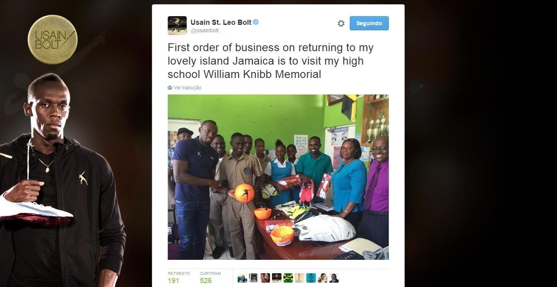 Usain Bolt em sua antiga escola na Jamaica