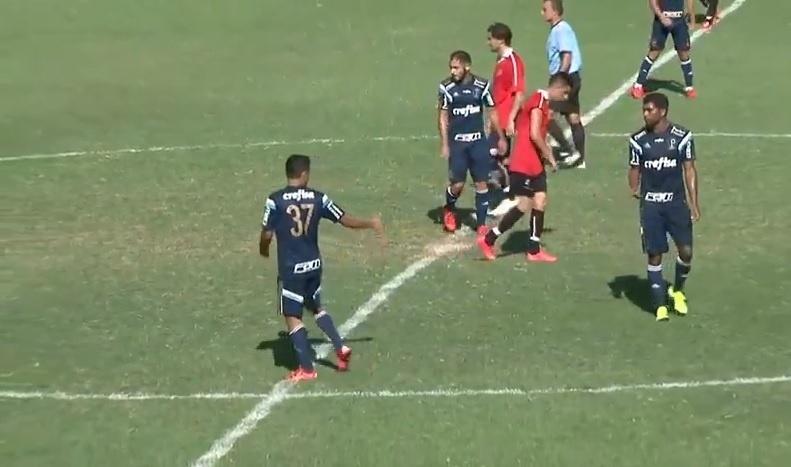 Erik marcou o primeiro gol do Palmeiras em jogo-treino contra o River Plate-URU