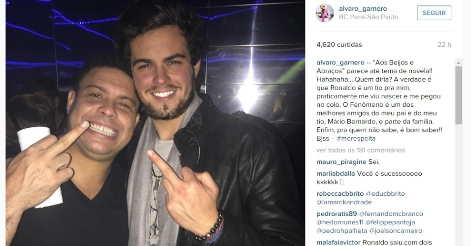Alvinho Granero criticou a repercussão do vídeo em que aparece beijando o rosto de Ronaldo