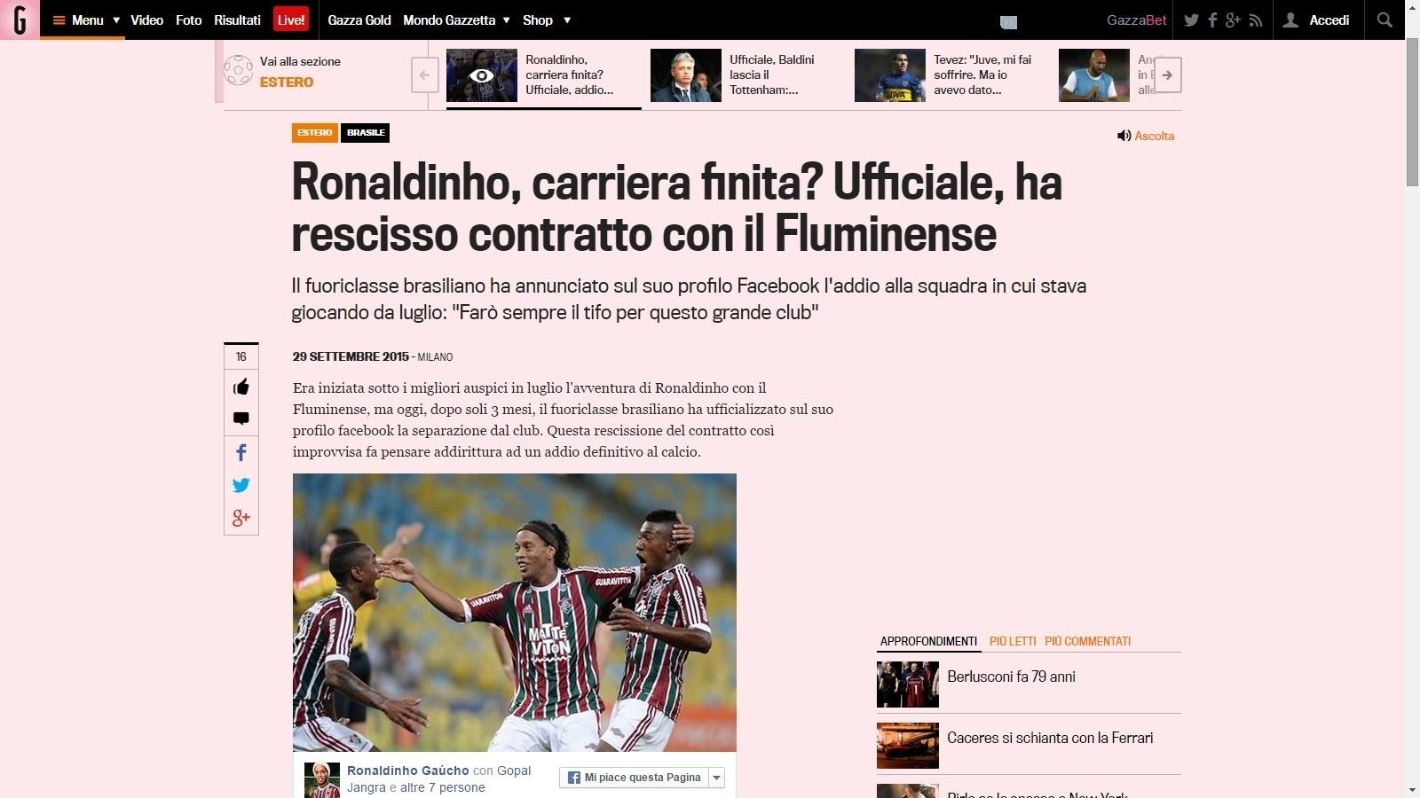 Jornal italiano Gazzetta dello Sport especula aposentadoria de Ronaldinho Gaúcho após rescisão com o Fluminense