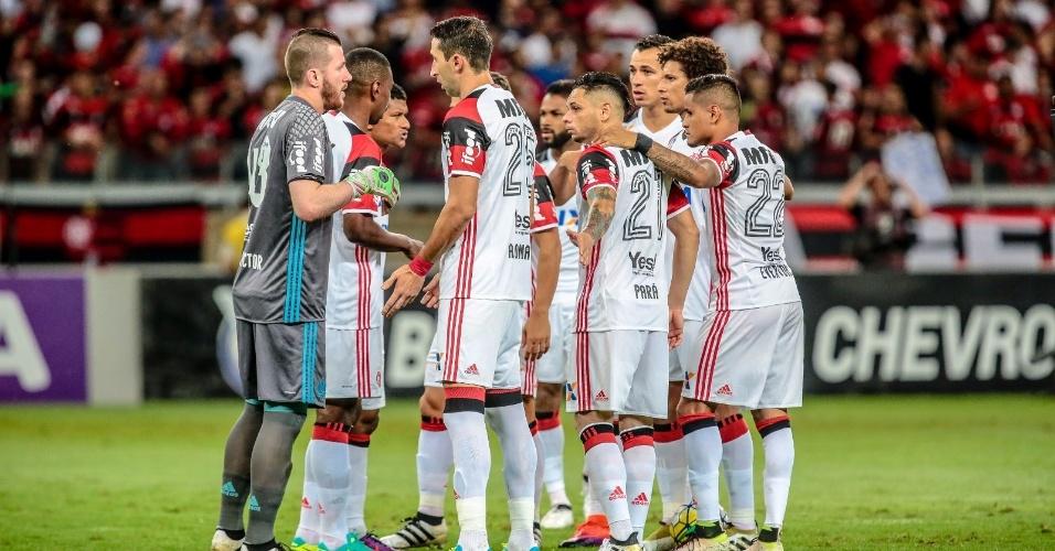 Os jogadores do Flamengo na vitória por 1 a 0 sobre o América-MG