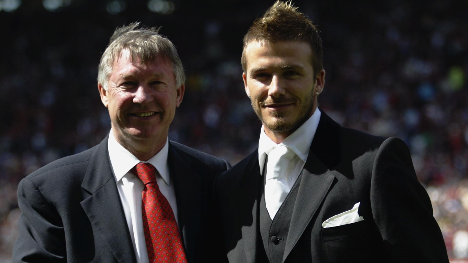 David Beckham e Alex Ferguson nos tempos de Manchester United