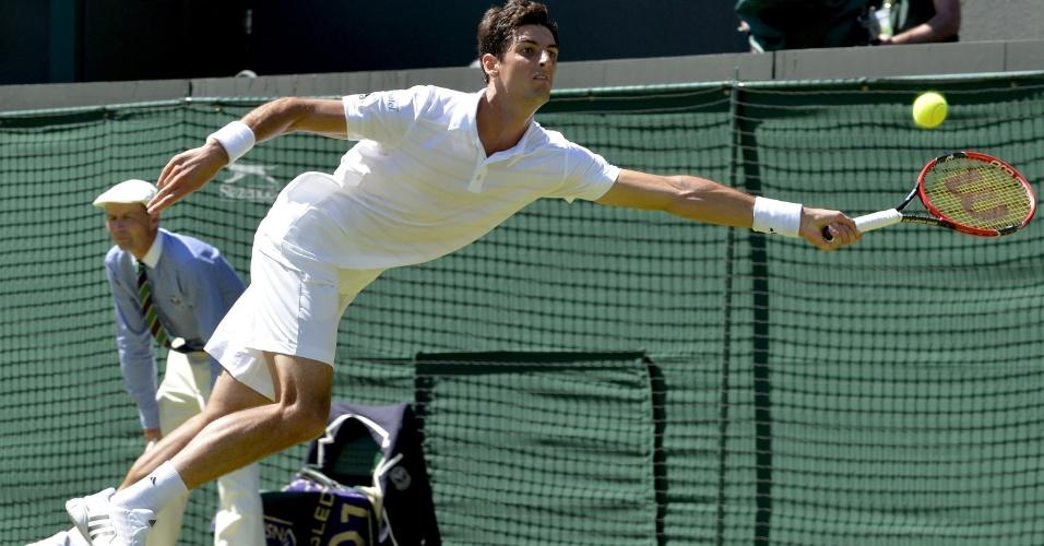Thomaz Bellucci em sua estreia em Wimbledon