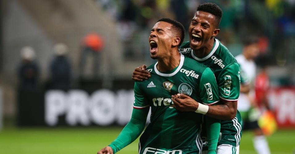 Gabriel Jesus comemora gol marcado pelo Palmeiras sobre o América-MG