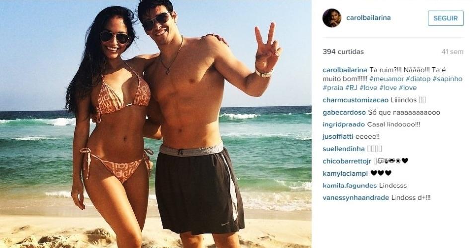 A bailarina do programa 'Domingão do Faustão' Carolina Oliveira e o ginasta da seleção brasileira Francisco Barretto são casados desde janeiro e mostram que vivem em sintonia