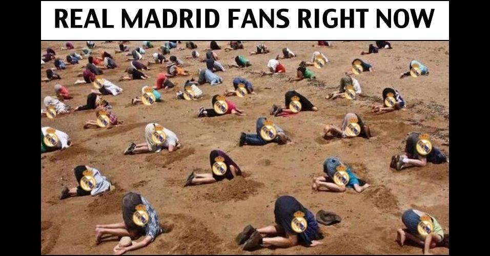 Torcedores do Real Madrid se escondendo em um buraco neste instante