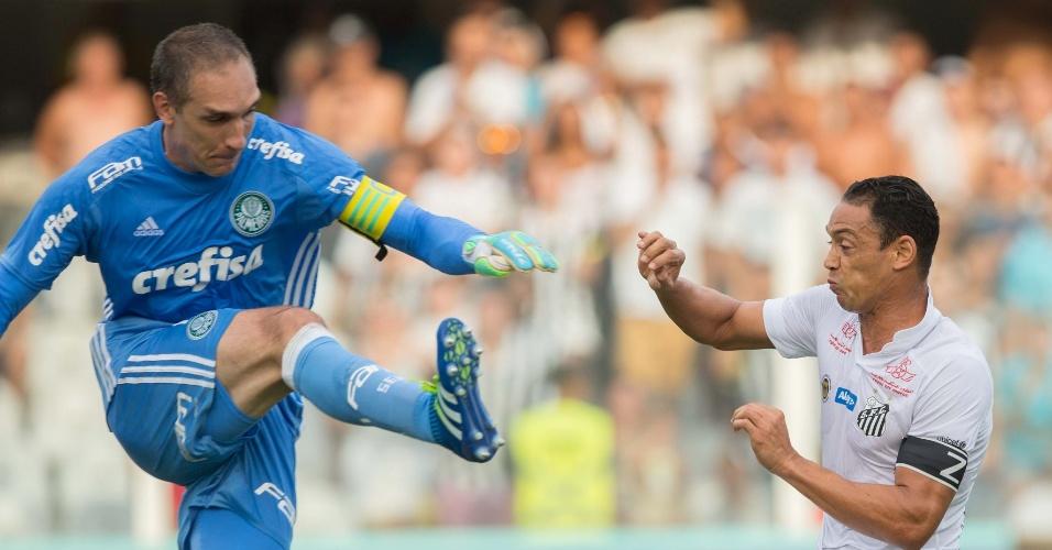 Fernando Prass e Ricardo Oliveira disputam bola no jogo do Palmeiras contra o Santos, pela semifinal do Paulistão