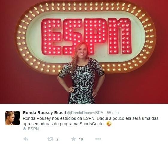 Ronda Rousey foi a primeira atleta feminina a apresentar uma edição do tradicional noticiário norte-americano Sportscenter