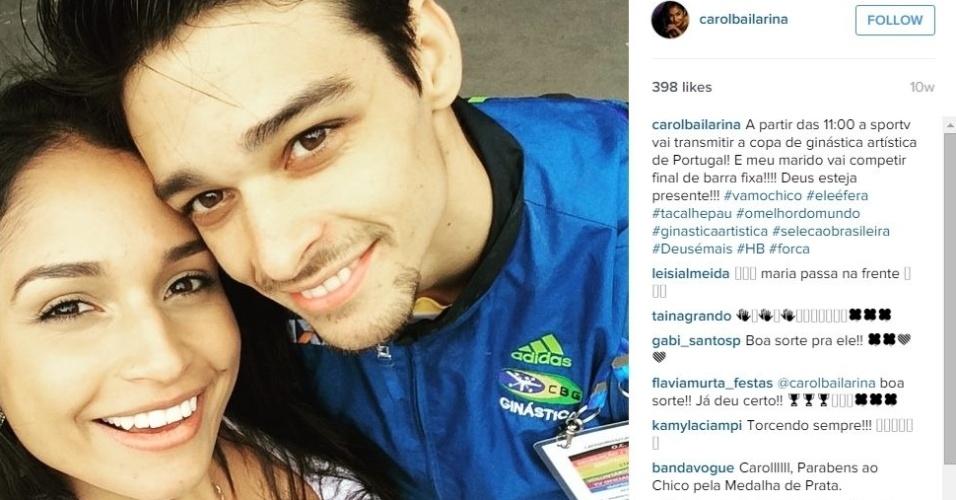 A bailarina Carol Oliveira e o ginasta Francisco Barretto têm pouco tempo juntos por causa dos compromissos profissionais, mas fazem de tudo para estarem juntos