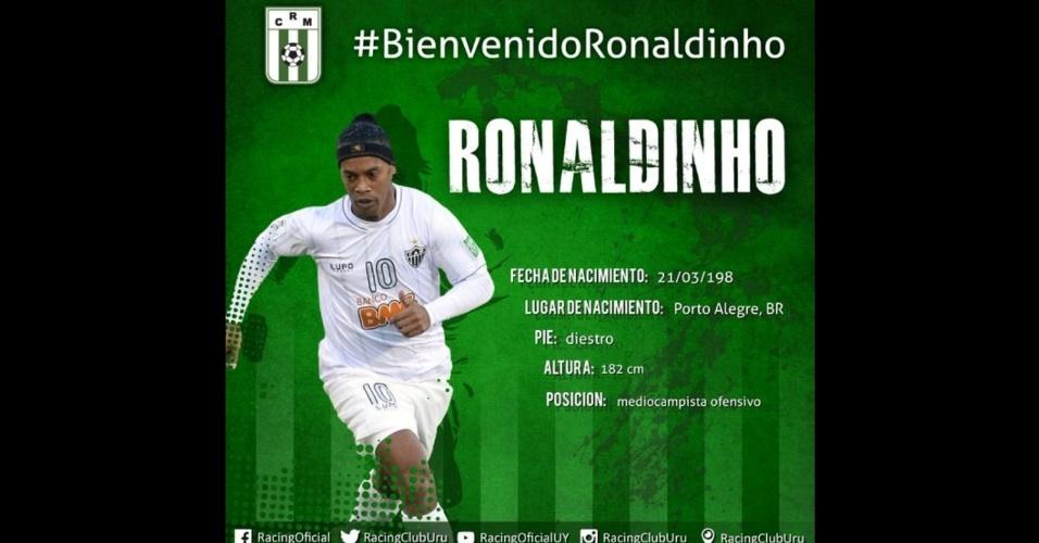 Racing Club (Uruguai) anuncia contratação de Ronaldinho Gaúcho. Negociação, porém, foi pegadinha de Dia da Mentira.