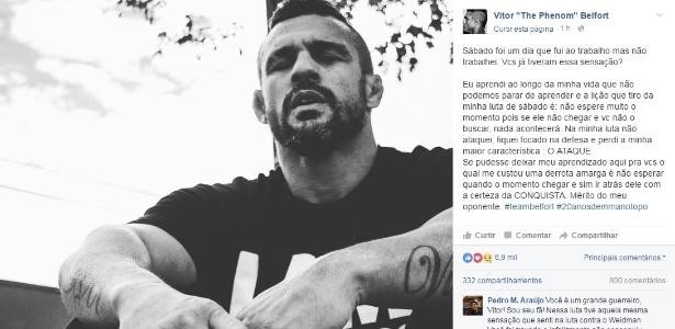 Vitor Belfort postou mensagem de desabafo em rede social após derrota para Jacaré