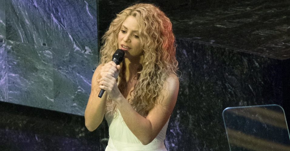 25.set.2015 - Apresentação da cantora colombiana Shakira, embaixadora da boa vontade da Unicef, em prévia da Assembleia Geral da ONU, em Nova York