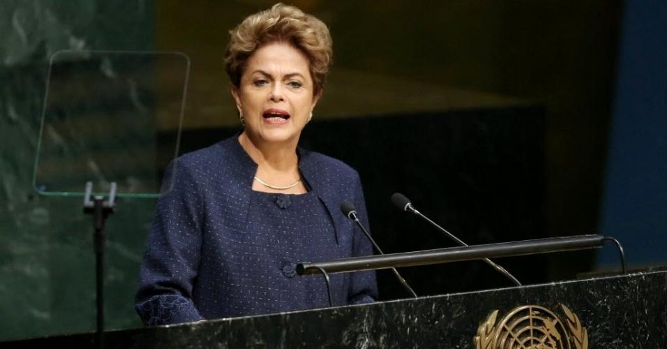 27.set.2015 - A presidente Dilma Rousseff (PT) discursou neste domingo (27) durante a Cúpula da ONU sobre o Desenvolvimento Sustentável na sede das Nações Unidas em Nova York (EUA)